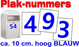 Huisnummer / container stickers Blauw 10CM