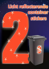 Containersticker huisnummersticker fluor oranje