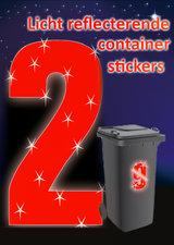 Containersticker huisnummersticker fluor rood
