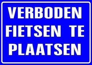 XL Sticker Verboden fietsen te plaatsen (19.5x28.5cm)