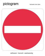 Pictogram sticker Verboden in te rijden (10x10cm)
