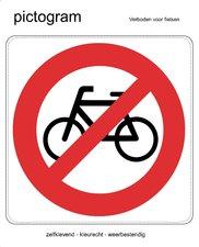 Pictogram sticker Verboden voor fietsen (10x10cm)