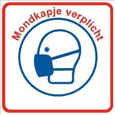 XL Pictogram sticker mondkapje verplicht (21x21cm)