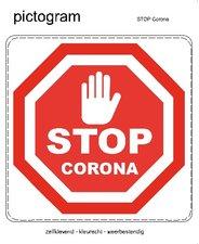 Pictogram sticker STOP corona (10x10cm)