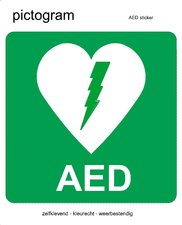 Pictogram sticker AED (10x10cm)