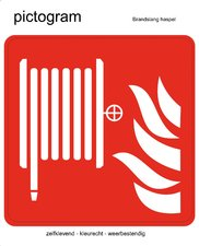 Pictogram sticker Brandslang haspel (10x10cm)