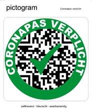 Pictogram sticker Coronapas verplicht(10x10cm)