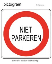 Pictogram sticker NIET PARKEREN (10x10cm)