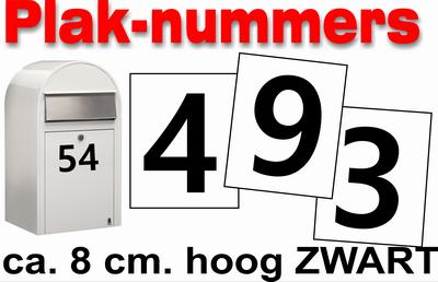 Huisnummer / container stickers Zwart 8CM
