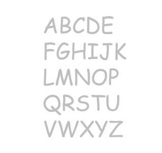 Plakletters / letter stickers gezandstraald Comic Sans